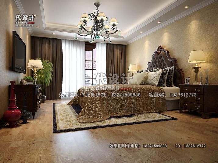 简洁大方欧式卧室效果图设计制作