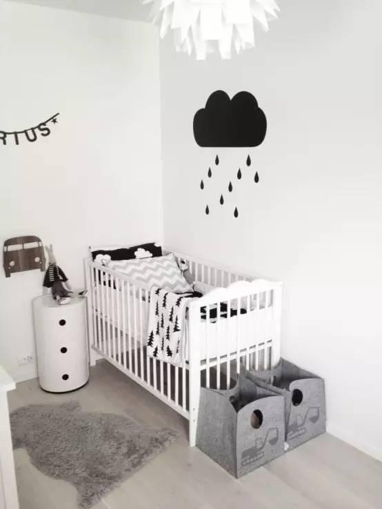 时尚简洁黑白灰三色的北欧风格儿童房室内设计