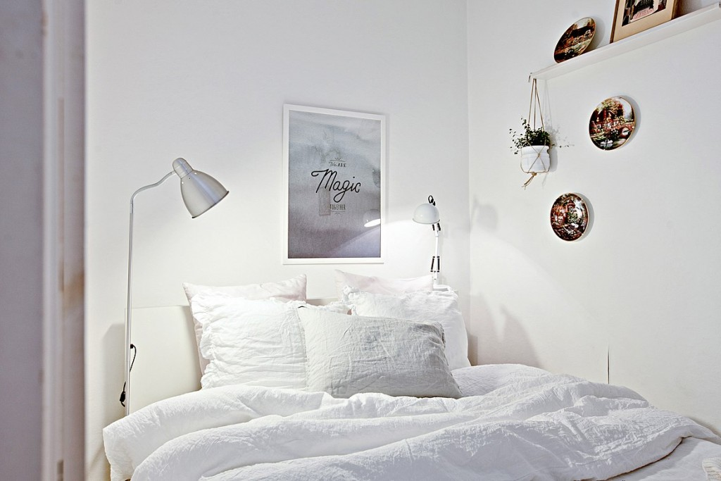 > 自然舒适温馨自然的北欧公寓室内设计              08,卧室的空间