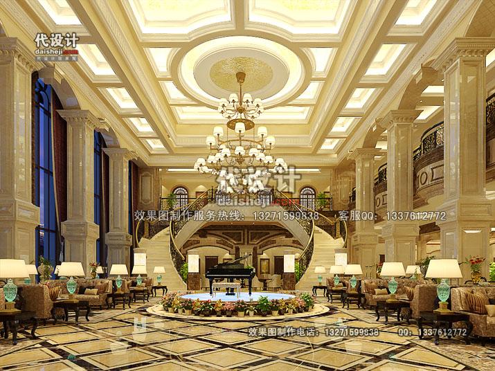 郑州效果图公司 > 工装效果图设计制作分套案例  酒店大堂夜光设计