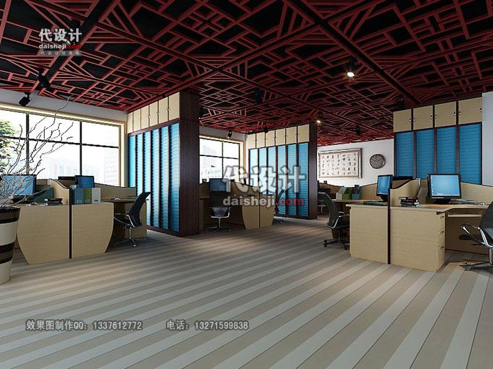 办公室空间效果图gz00413