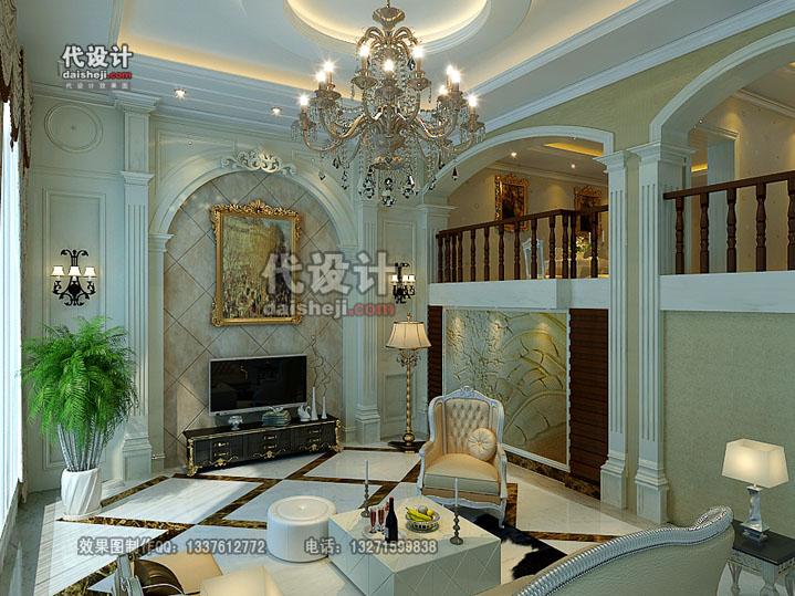 华丽奢华的欧式挑高客厅效果图制作-代设计