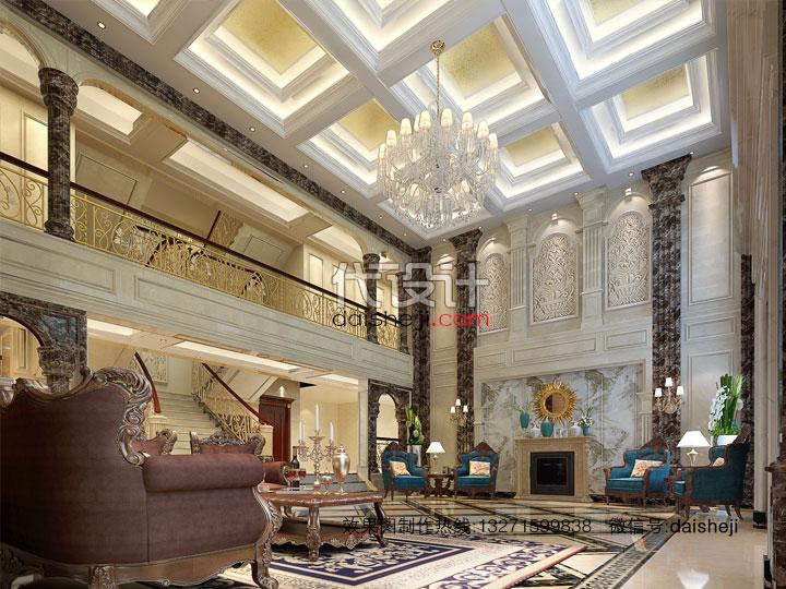 > 欧式别墅挑高客厅空间电视墙方向视角效果图设计