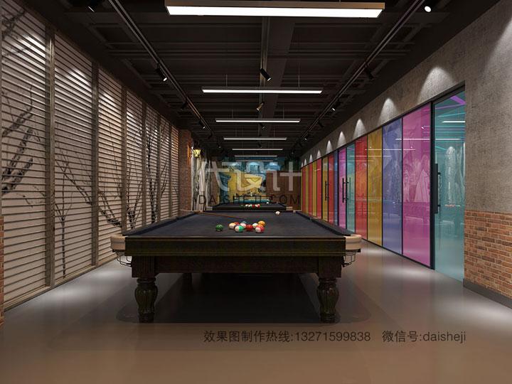 健身房台球室效果图设计