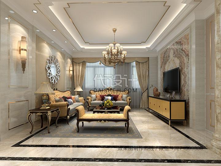 欧式客厅效果图制作